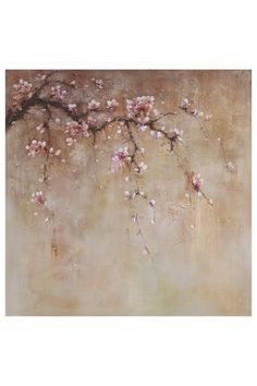 "Winter Sakura I Original Hand-Painted Large Art on Canvas - 40"" x 40"" by Artists Guild Large Art on @HauteLook"