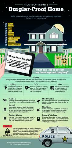 A Quick Checklist For A Burglar Proof Home   #Infographic #Burglar #Home
