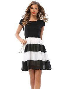 Summer Cute Black And White Stripe Chiffon Pleated Dress