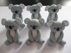 12 Fondant Edible Cupcake toppers - Koala