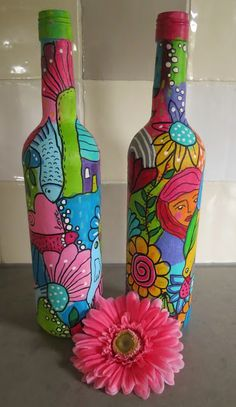 MakeArtBeHappy: Painted bottles series