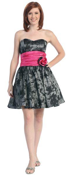 Print Strapless Homecoming Dress