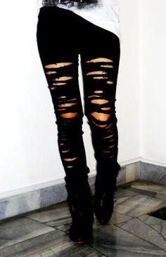Black Ripped Skinny Jeans- Trashed- Cut Jeans- Rocker-Grunge