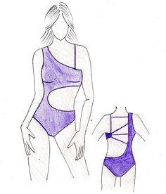 Fashion Drawing Dresses, Fashion Illustration Dresses, Crochet Bikini Pattern, Swimsuit Pattern, Fashion Model Sketch, Fashion Design Sketches, Fashion Design Books, Jolie Lingerie, Student Fashion