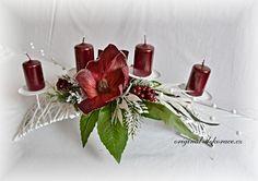 Vánoční (adventní) svícen, ratan, bílý, oblouk - červené magnolie