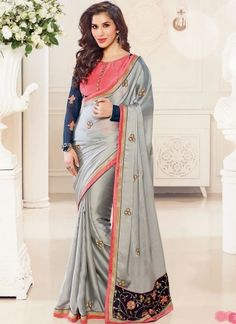 Glorious Grey Embroidery Work Designer Party Wear Saree http://www.angelnx.com/