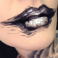 Black & white abstract art lips by Ida Ekman, Finnish makeup artist