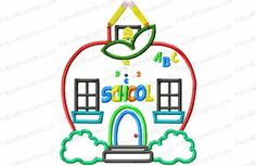 Apple School House Applique Embroidery Design