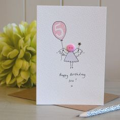 Personalised 'Button Fairy' Handmade Birthday Card - birthday cards