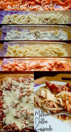 spaghetti meat sauce c. cream cheese c. chopped onion c. Parmesan cheese 1 t. garlic powder 1 t. pepper 2 c. Bake at 375 for 1 hr. layered as illustrated. Gourmet Recipes, Beef Recipes, Soup Recipes, Pasta Recipes, Cooking Recipes, Lentil Recipes, Pudding Recipes, Sausage Recipes, Recipes Dinner