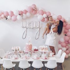 PRETTY IN PINK SECOND BIRTHDAY, balloon-arch, donuts