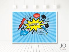 Superhero / Villan Sweet Table / Candy Buffet / Dessert Table Backdrop by JoStudioPartyPaperie / Complete Printable Collection for a Superhero Birthday Party / Kids Party / Kapow / Kids Parties / Stationery / Jo Studio / Red Blue And Yellow / Printables by Jo Studio