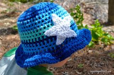 My Merry Messy Life: Crochet Ocean Sun Hat for Boys with Starfish