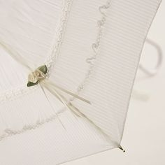 White Wedding Umbrella with Pleated frill and Cluny Lace - Brolliesgalore