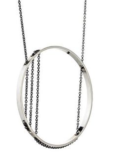 Inner Circle Necklace 106 in Sterling Silver and Oxidized Silver Chain