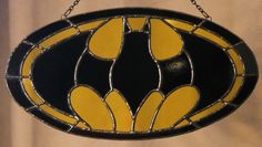 Stained glass Batman panel...measures about 13 inches across.