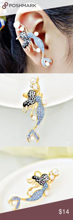 """Rhinestone Faux Pearl Mermaid Ear Cuff """"ONE Piece""""  Same Day Shipping Before 2PM EST!  All Orders Are Handled, Packaged With Care, And Shipped Within A Day. IF You Have Any Questions Please Feel Free To Comment!  With love, ❤Beckysenchantedtreasures Jewelry Earrings"""