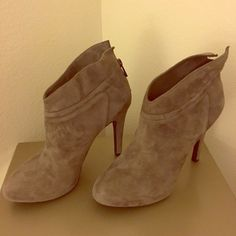 Gray Jessica Simpson booties size 8.5 Super cute gray Jessica Simpson booties with zip back. 4 inches high. Very comfortable. Only worn once. Size 8.5. Jessica Simpson Shoes Ankle Boots & Booties