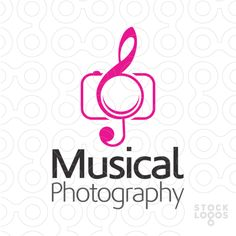This is a logo design of a camera and the treble clef, it is like the camera lens, view finder and the stand is made up of treble clef in a very attractive style with pink and grey colors.