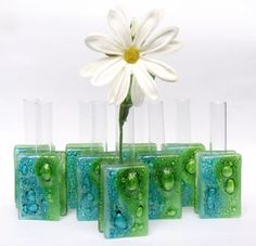 mini florero en vitrofusion para souvenirs