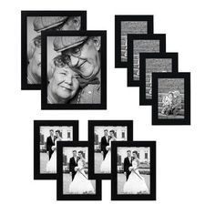 10-piece Multi Pack Black Picture Frame Set - Multiple Sizes and Constructions - Four 4x6 Inches - Four 5x7 Inches - Two 8x10 Inches - Glass Front