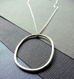Necklace. Modern Contemporary Simple Sleek Elegant Design. Sterling Silver Jewelry. Handmade by Epheriell on Etsy. Large Oval.