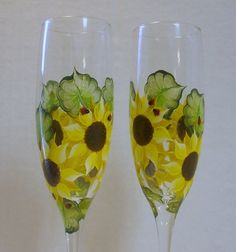 Sunflowers and  Ladybugs Hand Painted Champagne by paintedmann, $16.99