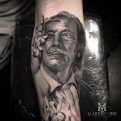 Salvador Dali portrait by Adam at Marked One Tattoo. To continue with Salvador Dali black and grey sleeve.