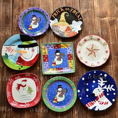 Christmas plates (with a halloween one too)