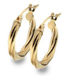9ct Gold Twisted Hoop Creole Earrings (003046)