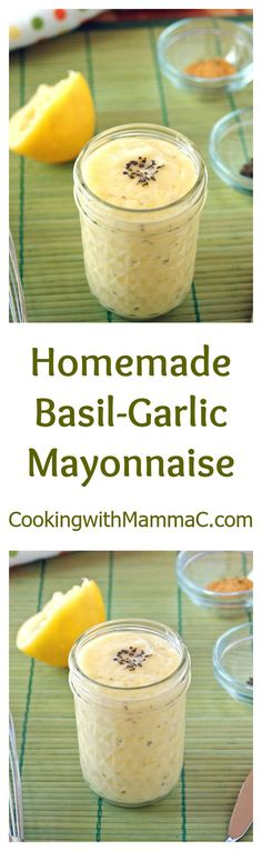 Homemade Basil-Garlic Mayonnaise is easy, soy free and delicious! There are no raw eggs. The egg yolk is cooked to a food-safe temperature in the microwave. Bbq Appetizers, Easy Appetizer Recipes, Healthy Appetizers, Healthy Dips, Diabetic Recipes, Gluten Free Recipes, Egg Yolk Recipes, Homemade Mayonnaise, Sauces