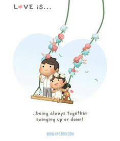 Cute love stories - Love is… Swinging Up and Down Love Cartoon Couple, Cute Love Cartoons, Cute Couple Art, Cute Couples, Cute Love Stories, Cute Love Quotes, Love Story, Ah O Amor, Hj Story
