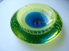 Murano Glass Dish Lime Green and Blue Bubbled Circular Ashtray with Label Italy Galliano Ferro