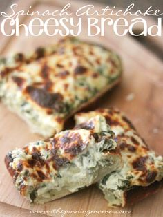 The BEST Spinach Artichoke Bread EVER!  Perfect for an appetizer or side.