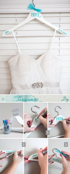 Use a Sharpie to customize Bumerang hangers to hang the bridal party's dresses on.