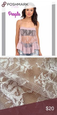 CLEARANCE! Free People Lace Cami medium This beautiful camisole in the color misty pink is on clearance. There is a few picky areas on the shirt. It was bought brand new and never has been worn. NWT. The picky areas aren't that noticeable and could pulled or cut off. You can see a close-up of the fabric in the second picture. Free People Tops Camisoles