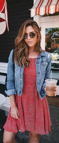 Beauty // Makeup // Hair // Style // Street // Moda // Outfit Ideas // Denim Jacket // Red Polka Dot Lace-Up Dress // Urban // Women's Fashion