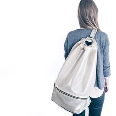 Waterproof nude oversize backpack. Perfect XXL bag for school or gym – a unique product by Borba_Pl via en.DaWanda.com