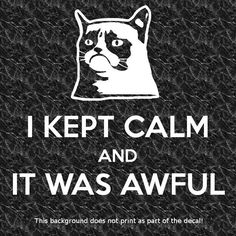 I KEPT CALM IT WAS AWFUL GRUMPY CAT DECAL STICKER CARRY ON  F YOU HUMOR