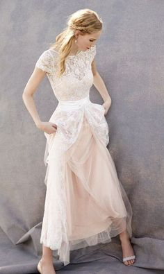 Lovely Wedding Dresses,Blush Pink Wedding Gown,Tulle Wedding Gowns,Lace Bridal Dress, Wedding Dress,Cap Sleeves Wedding Dress,Sleeveless Wedding Dresses,Wedding Dresses