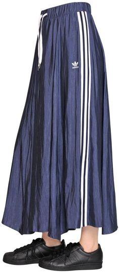 3 Stripe Techno Satin Midi Skirt by adidas on ShopStyle.