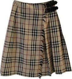 Burberry A Line Kilt Plaid Skirt Nova Check