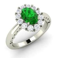 Emerald and Diamond  Ring in 14k White Gold (1.21 ct.tw.) - Taurina