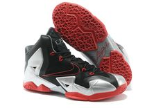 quality design 50f2d 47d4b Womens LeBron 11 Black Metallic Silver Sport Red Armory Slate Nike Zoom,  Black Silver,