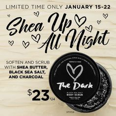ON SALE! You'll never fear the dark again after encountering this black sea salt and charcoal body scrub. Moisturizing shea butter and honey complete this dusky fusion with a fresh sea breeze scent. Apply liberally and scrub from neck to toes in the bath or shower 2–5 times weekly until you cross over to the dark side.