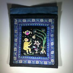 Vintage Chinese  Blue and Black  Embroidered by BluePearEmporium