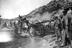 Troops landing at Anzac Cove in the Dardanelles during the Gallipoli campaign of the First World War