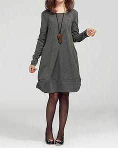 Cotton Dress Women Long Cotton Blouses Sleeved Dresses Cotton Tops Casual Loose Blouses Plus Size Dresses Cotton Shirts Size M/L