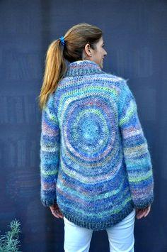 Crochet wool silk angora circular coat / multicolored by SophieCRO