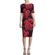 David Meister Floral-Printed Belted Sheath Dress